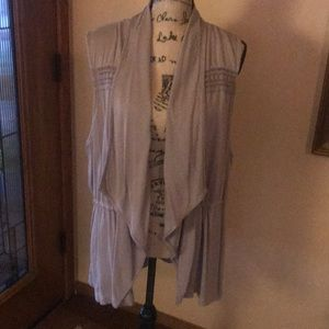 Long taupe vest